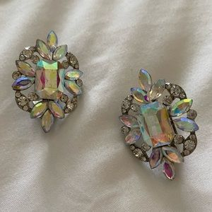 Silver and AB crystal CLIP ON earrings